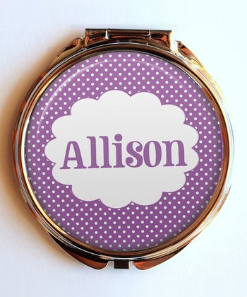 Purple Polka Dot Personalized Compact Mirror