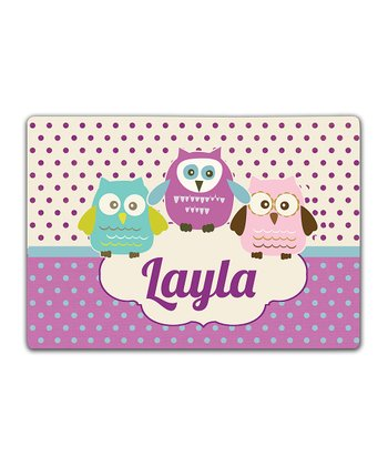 Purple Owl Trio Double-Sided Personalized Place Mat