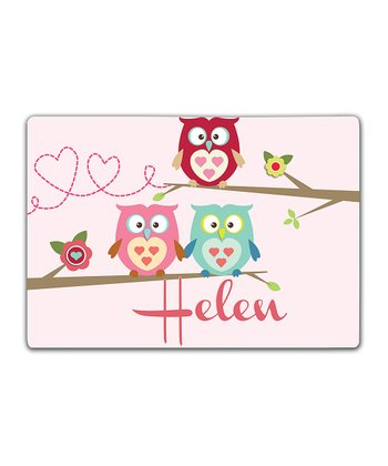 Owls on a Branch Double-Sided Personalized Place Mat