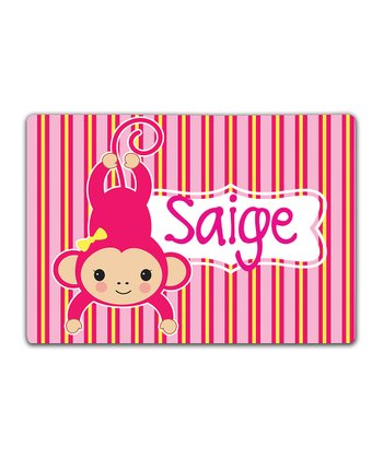 Pink Monkey Double-Sided Personalized Place Mat