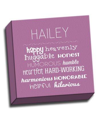 Purple Letter H Character Trait Personalized Canvas