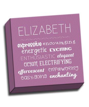 Purple Letter E Character Trait Personalized Canvas