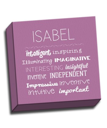 Purple Letter I Character Trait Personalized Canvas