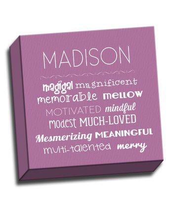 Purple Letter M Character Trait Personalized Canvas