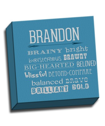 Blue Letter B Character Trait Personalized Canvas
