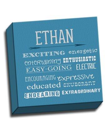 Blue Letter E Character Trait Personalized Canvas