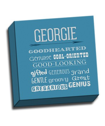 Blue Letter G Character Trait Personalized Canvas