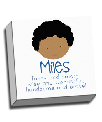 Curly-Haired Boy Personalized Canvas