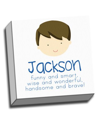 Brown-Haired Boy Personalized Canvas