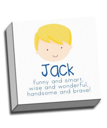 Blonde Boy Personalized Canvas