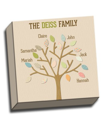 Colorful Leaves Family Tree Personalized Canvas