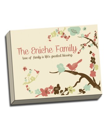 Bird on Branch Family Personalized Canvas