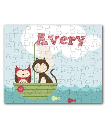 Owl & Cat Gone Fishing Personalized Puzzle