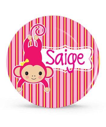 Pink Monkey Personalized Plate