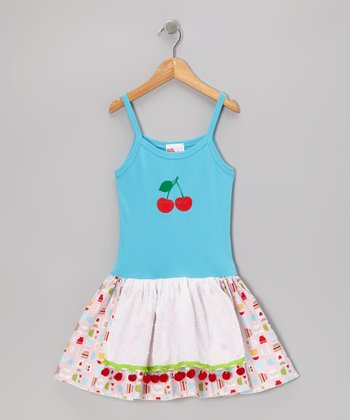 Teal Cherry Apron Dress - Infant, Toddler & Girls