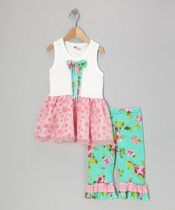 Pink Polka Dot Top & Teal Ruffle Pants - Infant, Toddler & Girls