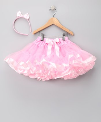Pink & White Polka Dot Pettiskirt & Headband