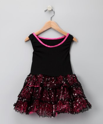 Black & Fuchsia Tiered Sequin Dress - Toddler & Girls