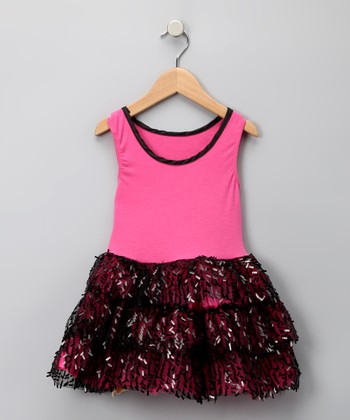 Fuchsia & Black Tiered Sequin Dress - Toddler & Girls