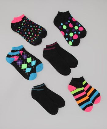 Black & Neon All Mixed Up Ankle Socks Set