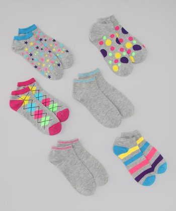 Gray & Neon All Mixed Up Ankle Socks Set