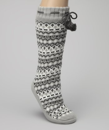 Gray Pom-Pom Lounge Slipper Socks