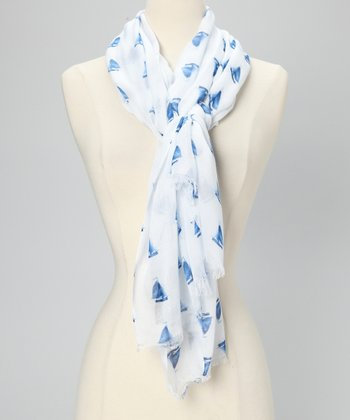 Blue & White Sailboat Scarf