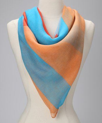 Orange & Blue Color Block Scarf