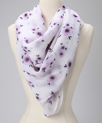Purple & White Poppy Floral Scarf