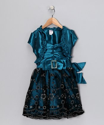 Just Kids Teal Dress & Shrug