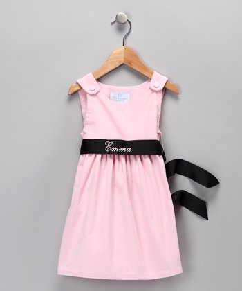 Pink & Black Personalized Sash Dress - Infant, Toddler & Girls