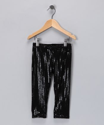Black Sequin Leggings - Toddler & Girls