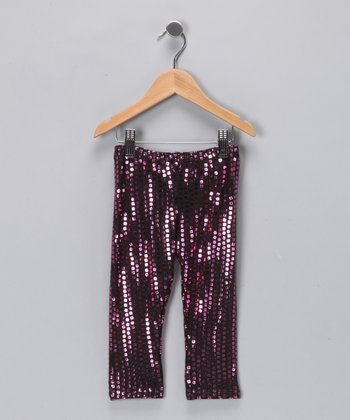 Metallic Pink Sequin Leggings - Toddler & Girls