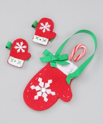 Red Mitten Ornament Set