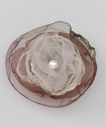 Brown Organza Flower Clip