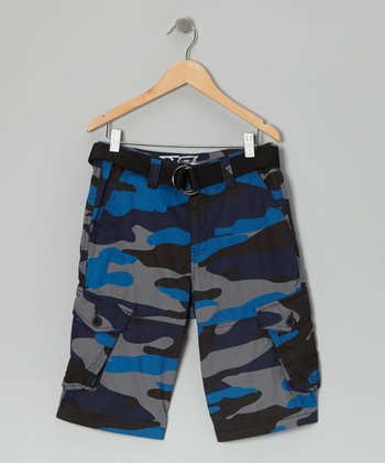 Royal Blue Camo Twill Cargo Shorts - Boys