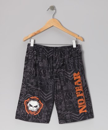 Black & Orange Mesh Shorts - Boys