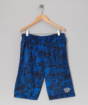 Royal Blue & Black Mesh Shorts - Boys