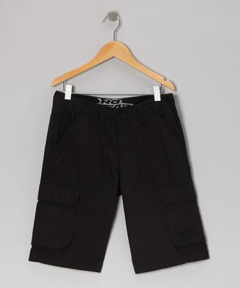 Black Ripstop Cargo Shorts - Boys