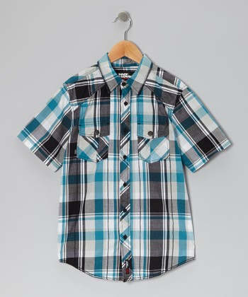 Black & Turquoise Plaid Button-Up - Boys