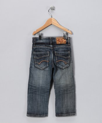 Medium Wash Hand-Brushed Spray Jeans - Toddler & Boys