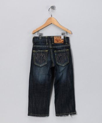 JB Original Vintage Dark Wash Spray Tiger Jeans - Toddler & Boys