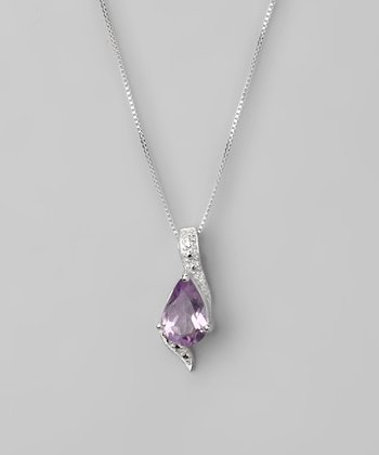 Amethyst & Sterling Silver Teardrop Pendant Necklace