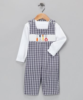 Vive la Fete Navy Plaid Tool Tee & Overalls - Infant