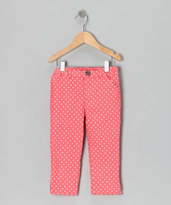 Sugar Coral Polka Dot Capri Pants - Toddler & Girls