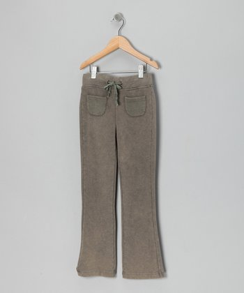 Khaki Fleece Pants - Girls