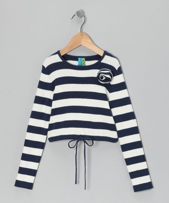 Navy Stripe Rosette Top - Toddler & Girls
