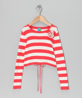 Coral Stripe Rosette Top - Toddler & Girls