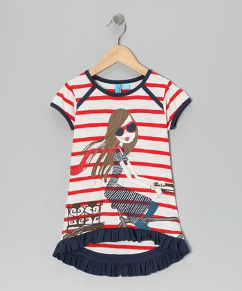 Red Stripe Cyclist Top - Toddler & Girls