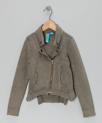 Khaki Fleece Jacket - Girls